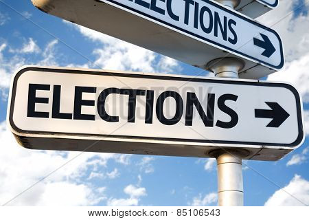 Elections direction sign on sky background poster