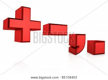 3D Red Signs