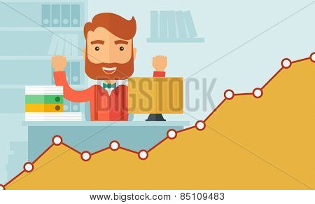 The man with a beard in glasses working on his desk at the office. Successful working concept. Vector flat design Illustration. Horizontal layout with a text space in a right bottom corner.