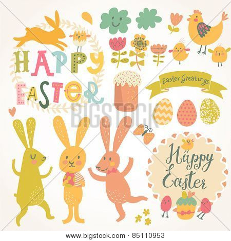 Happy easter vector set in vector. Sweet rabbits, eggs, chicken, text, tasty cake in stylish colors. Concept holiday spring cartoon collection