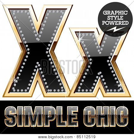 Vector set of chic black font with diamonds and  gold border. Letter X