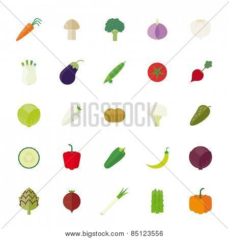 Vegetables Flat Icons Vector Icon Set. Collection of 25 vegetables flat design icons isolated on white background.