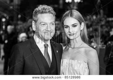 BERLIN, GERMANY - FEBRUARY 13: Kenneth Branagh, Lily James. 'Cinderella' premiere during the 65th Berlinale Film Festival at Berlinale Palace on February 13, 2015 in Berlin, Germany.