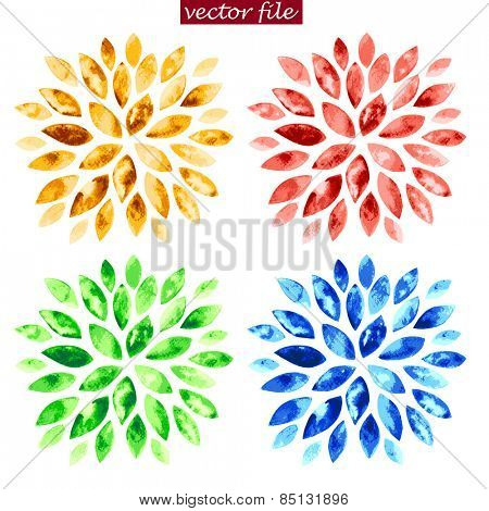 Green, blue, red and yellow watercolor vector sunburst flowers isolated on white.