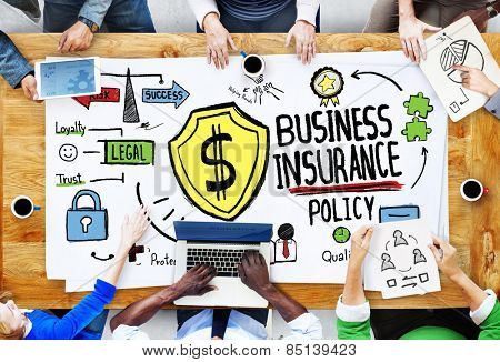 Multiethnic  People Meeting Safety Risk Business Insurance Concept poster