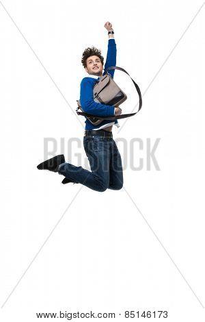Smiling business man jumping with bag over white background