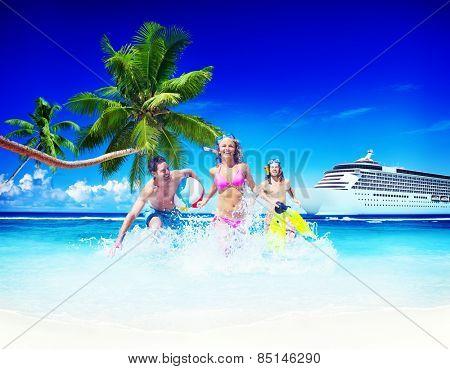 Friends Summer Beach Happiness Beach Ball Playing Concept