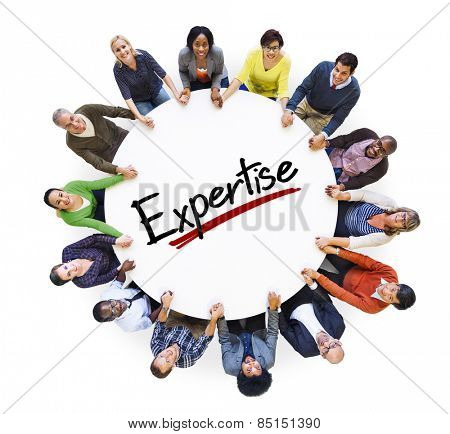People Holding Hands Community Expertise Proficiency Intelligence Concept poster