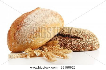 Fresh bread with wheat isolated on white