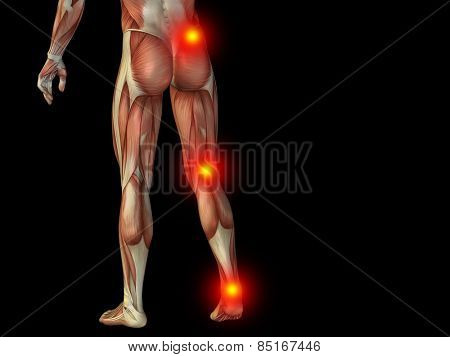 Conceptual 3D human man anatomy or health design, joint or articular pain, ache or injury isolated on black background, for medical, fitness, medicine, bone, care, hurt, osteoporosis arthritis or body poster