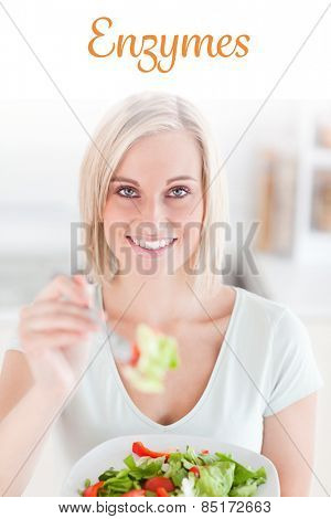 The word enzymes against cute woman offering salad