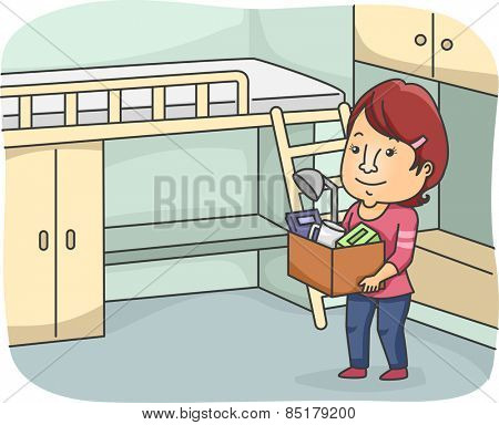 Illustration of a Woman Moving in to Her New Dorm Room