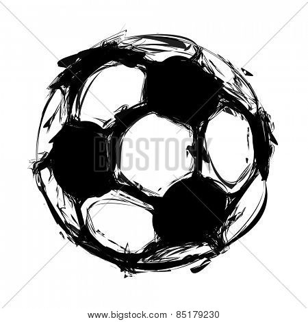 grunge soccer ball on white, easy all editable