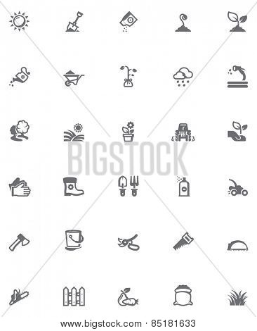 Set of the gardening related icons