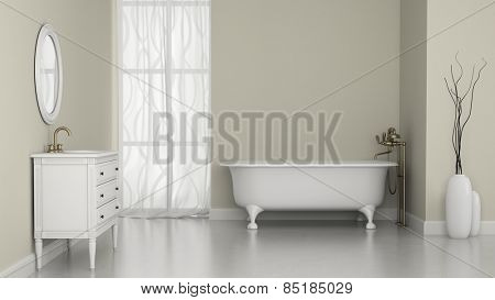 Interior of classic bathroom with white walls 3D rendering