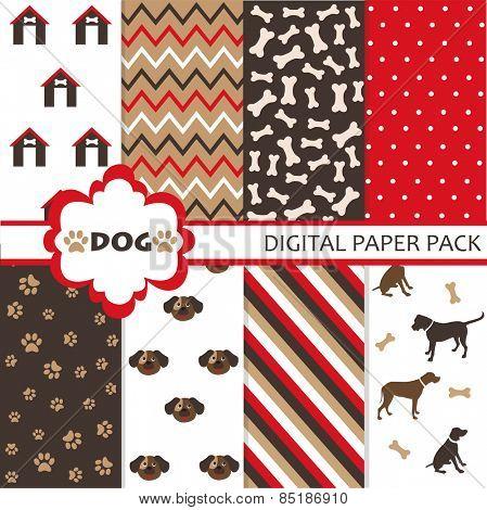 Seamless dog pattern set