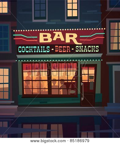 Little cozy bar on the street at night. Vector illustration.