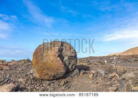 Volcano Ground Details On Lanzarote Island