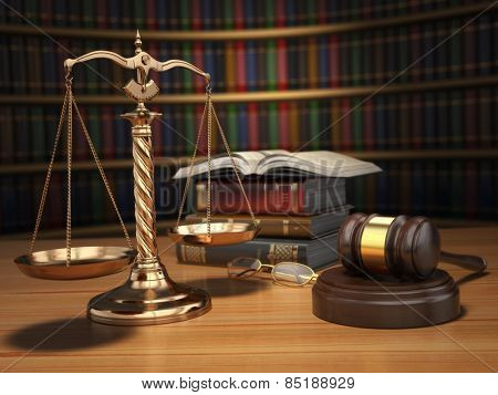 Justice concept. Gavel,  golden scales and books in the library with dof effect. 3d poster