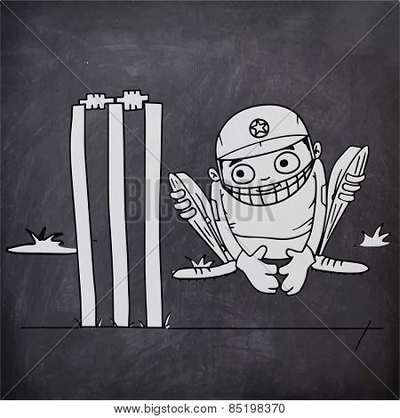 Cricket sports concept with illustration of a wicket keeper sitting behind the stumps on chalkboard background.