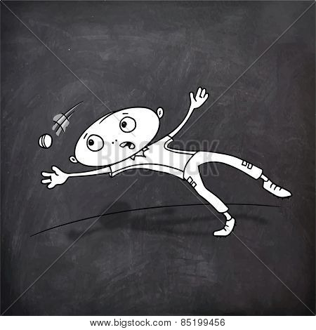 Cricket sports concept with cartoon of a boy trying to catch the ball on chalkboard background.