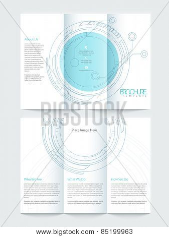 Two pages, Tri Fold business flyer or brochure design with hi-tech statistical circle for your professional presentation.