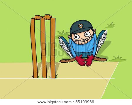 Cartoon of a wicket keeper sitting behind stumps for Cricket sports concept.
