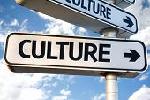 Culture direction sign on sky background poster