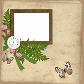 Wooden Frame with flowers and clock on grange paper background poster
