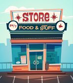 Grocery store facade. Vector illustration. poster