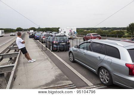 Traffic Jam On Motorway In Germany