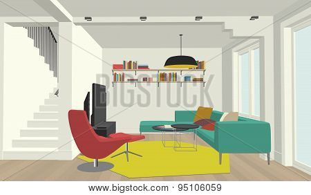 Color drawing of the living room