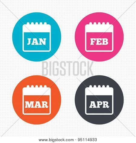 Circle buttons. Calendar icons. January, February, March and April month symbols. Date or event reminder sign. Seamless squares texture. Vector poster