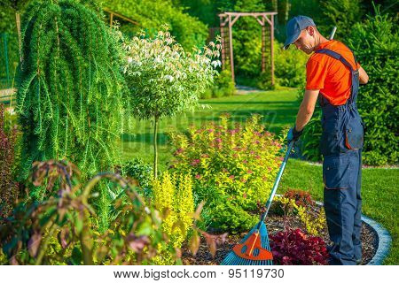Raking In The Garden