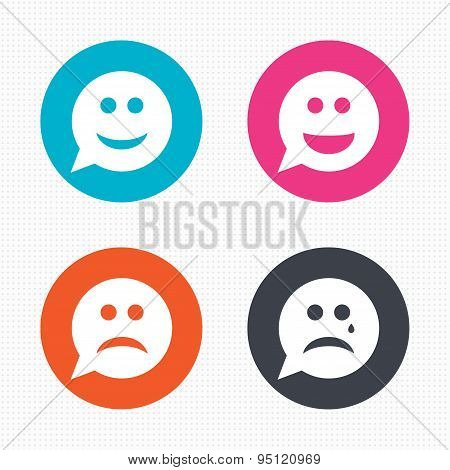 Speech bubble smile face icons. Happy, sad, cry.
