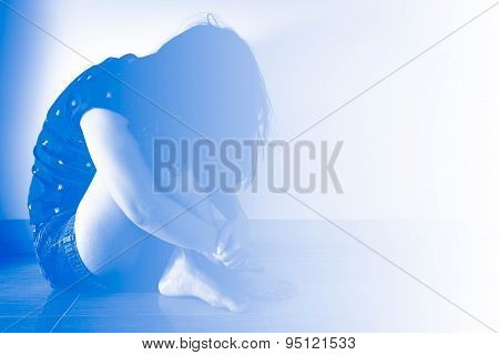 Blur Background Lack, Violation Of Human Rights Liberty. Young Lonely Woman Sitting
