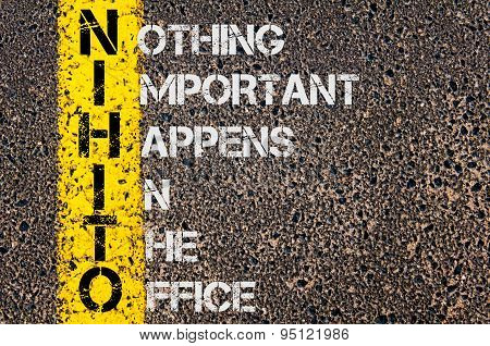 Concept image of Business Acronym NIHITO as Nothing Important Happens In The Office written over road marking yellow painted line. poster