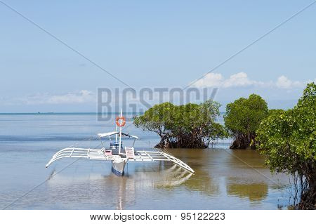 Outrigger Boat Anchored In Shallows Of Mangroves