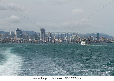 Skyline Of Cebu City From Lite Ferry, Philippines