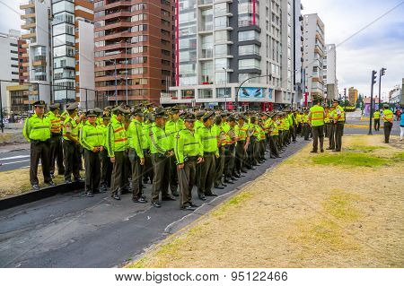Large group police officers line up formation as part of preparing for arrival motorcade Pope Franci