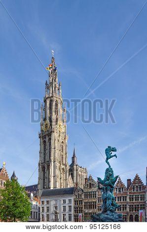The Grand Place In Antwerp, Belgium.