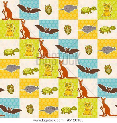 Set Of Funny Animals Bat Turtle Owl Tiger Kangaroo Narwhal Seamless Pattern. Polka Dot Background Wi