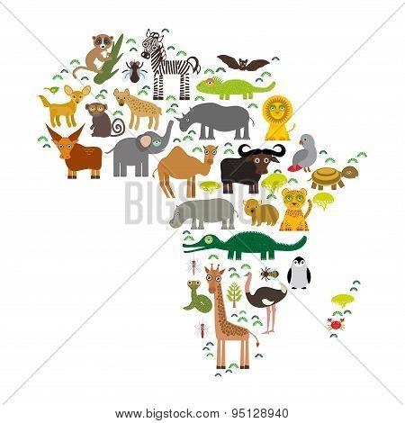 Animal Africa: Parrot Hyena Rhinoceros Zebra Hippopotamus Crocodile Turtle Elephant Mamba Snake Came