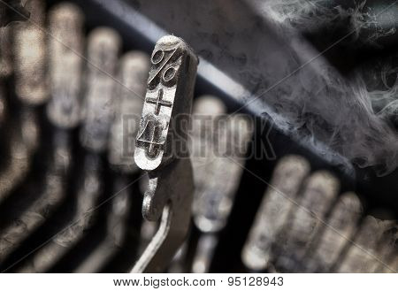 4 And Percentage Hammer - Old Manual Typewriter - Mystery Smoke