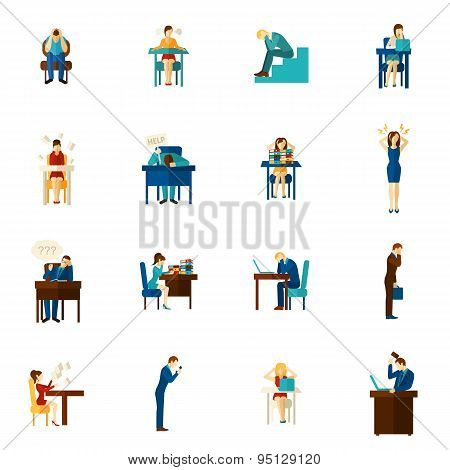 Frustration People Flat Icon Set