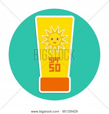 Sunscreen Spf 50. The Yellow Tube On Blue Background. Summer Vacation Beach. Round Card Design. Vect