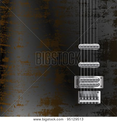 Guitar Strings On A Rusty Metal Background
