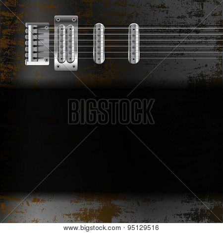 Guitar Strings On A Rusty Metal Background With Black Frame