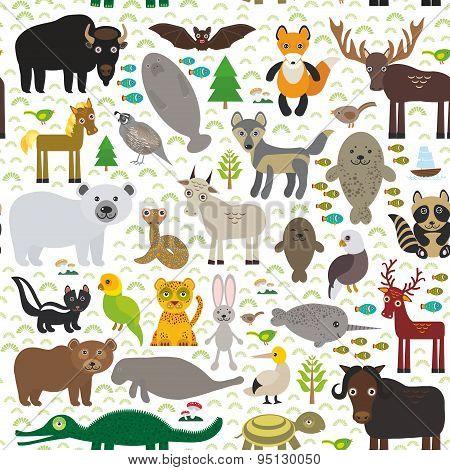 Seamless Pattern Bison Bat Manatee Fox Elk Horse Wolf Partridge Fur Seal Polar Bear Pit Viper Snake