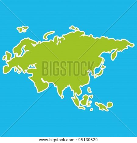 Eurasia map green continent on blue background. Vector illustration poster